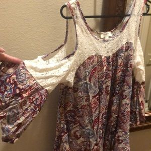 Paisley bell sleeve cold shoulder lace blouse